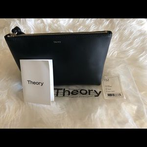 Brand new Theory leather cosmetic bag